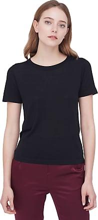 LilySilk Silk T Shirt for Ladies Short Sleeves Round Neck Silk All-Matching Elegant Shirt Black Size M