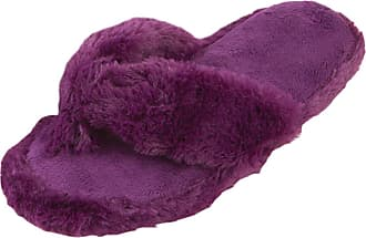 Forever Dreaming Ladies Memory Foam Faux Fur Flip Flop Style Indoor Slippers - Plum Size 4