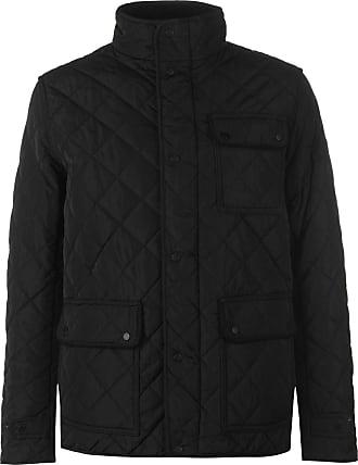 Firetrap Mens Kingdom Jacket Quilted Coat Top Long Sleeve Zip Warm Tonal Black XXL
