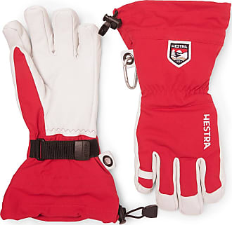 Hestra Leather And Shell Ski Gloves With Removable Liner - Red