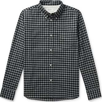 Universal Works Button-down Collar Gingham Brushed Cotton-flannel Shirt - Charcoal