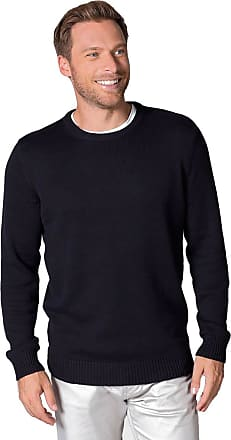 WoolOvers Mens 100% Cotton Crew Neck Fine Knit Pullover Knitted Jumper Sweater Navy, XXL