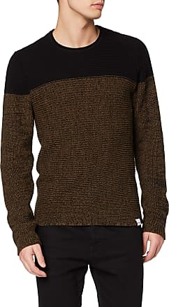 Only & Sons Mens Onssato 7 Colorblock Crew Neck Knit Noos Jumper, Multicolour (Slate Black Slate Black), Small