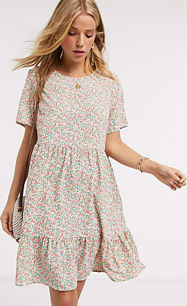 Pieces tiered smock dress in cream floral-Multi