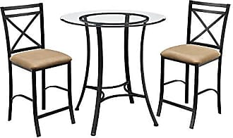 Dorel Home Products Dorel Living Valerie 3 piece Counter Height Glass and Metal Dining Set, Black / Beige