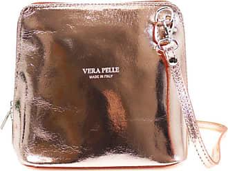 Your Dezire Ladies Genuine Italian Leather Small Cross Body Messenger Bag Women Shoulder Over Bags Handbags,Vera Pelle (Rose Gold)