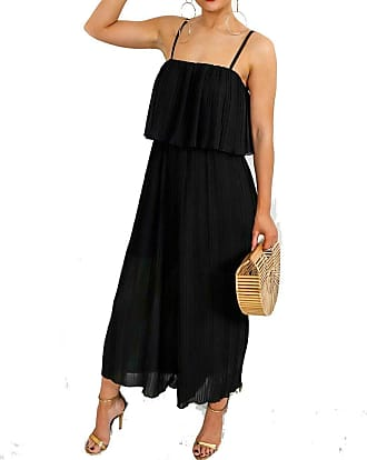 Top Fashion18 Ladies Chiffon Frill Strappy Crinkle Festival Pleated Jumpsuit Culotte Dress Size 8-14 Black