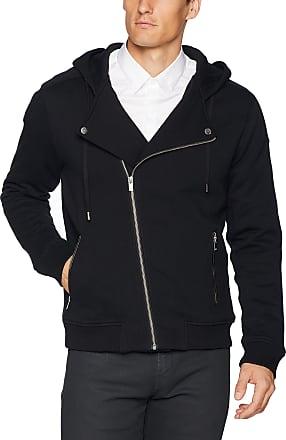 The Kooples Soft Fleece Biker Sweatshirt with Asymmetrical Zipper Hooded, Black, XS