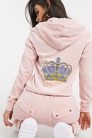 Juicy Couture Black Label Luxe Crown Velour Robertson Hoodie in pink
