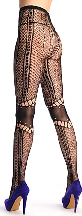 58e50611e5d4b Liss Kiss Lace Fishnet With Opaque Knees Panels - Black Fishnet Designer Opaque  Tights