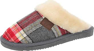 Wicklow Ladies Jo /& Joe Tartan Faux Fur Trim Slip On Mule Slippers Shoes