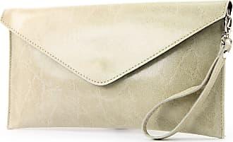 modamoda.de ital. Leather bag Clutch underarm bag Evening bag Wrist bag Wrist bag Smooth leather T106G, Colour:light beige