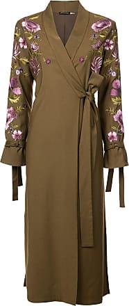 Natori embroidered tie front duster coat - Green