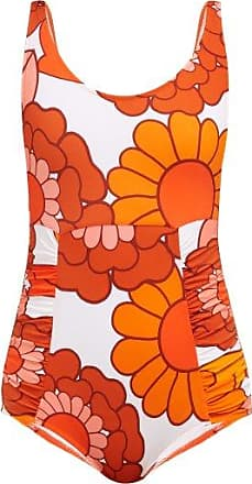 Dodo Bar Or Adinna Scoop-back Floral-print Swimsuit - Womens - Orange Print