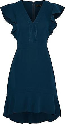 Rachel Zoe Rachel Zoe Woman Uma Ruffle-trimmed Crepe Mini Dress Navy Size 2