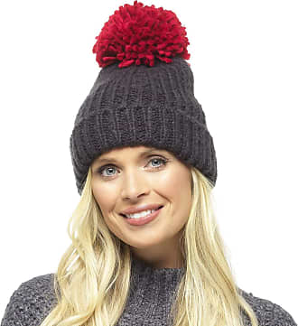 Foxbury Ladies Chunky Knit Hat with Contrast Coloured Bobble Black