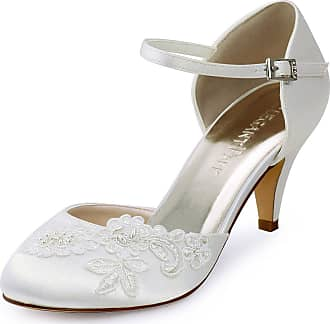 Elegantpark HC1604 Wedding Shoes Women Closed Toe Bridal Shoes High Heel Ankle Strap Appliques Satin Wedding Court Shoes Ivory UK 5(EU 38)