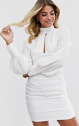 In The Style Mini-jurk met pofmouwen en ruches in wit