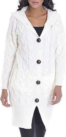 LEIF NELSON Ladies Cardigan Jacket Hood LN-10190 Ecru X-Large