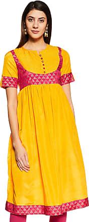 Indigo Womens A-Line Kurti (AW-18/IND-804A_Fuchsia/Mustard_S)