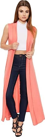 Crazy Girls Ladies Womens Soft Sleeveless Long Open Maxi Boyfriend Collared Cardigan (16-18, Coral)