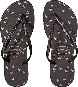 9d4f0d911d9c Havaianas Slim Logo Metallic Sandal (Black Black) Womens Shoes
