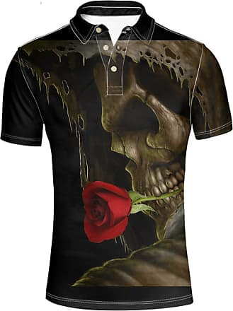 Hugs Idea Skull Floral Print Mens Fashion Short Sleeves Classic Golf Sport Shirt Slim T-Shirt Tee