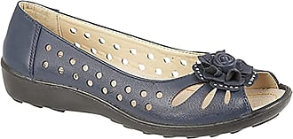 Boulevard Ladies Punched Open Toe Flower Trim Casual PU Sole Navy size 5 UK