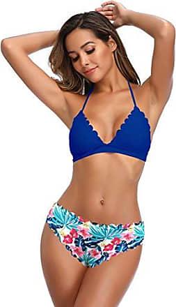 SHEKINI Damen Brazilian Bandeau Bikini Set Gepolsterte Einlagen Neckholder Low Waist Blumenmuster Hose Zweiteiliger Bikini f/ür Frauen