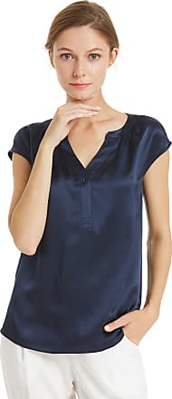 LilySilk 100 Silk Blouse for Women Short Sleeve Ladies Top Shirt 22 Momme Pure Silk Navy Blue Size M