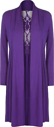 WearAll Ladies Plus Size Lace Back Cardigan Womens Long Sleeve Stretch Pleat Top Purple 24/26