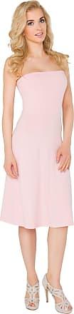 FUTURO FASHION Womens Bandeau Midi Dress Summer Evening Sleeveless Skater Dress Sizes 8-14 8205 Baby Pink
