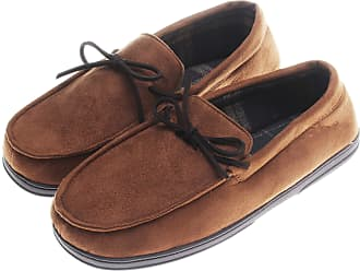 Dearfoams Mens Microsuede Plaid-Lined Moccasin; Chestnut (Large)