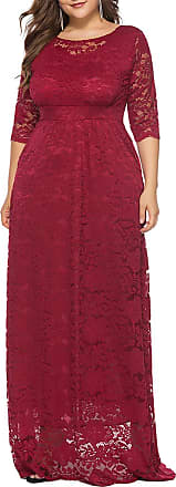 FeelinGirl Womens Floor Lentgh Lace Dress Empire Waist 3/4 Sleeves Cocktail Plus Size Elegant Skirt Sexy Evening Gown Red XL