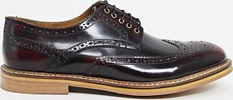 Topman leather brogues in red-Brown
