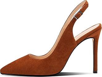 EDEFS Womens Pointed Toe Court Shoes High Heel Slingback Dress Shoes Brown EU45/UK10.5