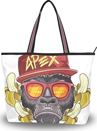 Lorona Women Nuke Monkey Orangutan With Banana Canvas Shoulder Hand Bag Large Capacity Tote Bag