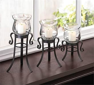 Zingz & Thingz Zingz and Thingz Allure 3 Piece Candle Stand Set in Black