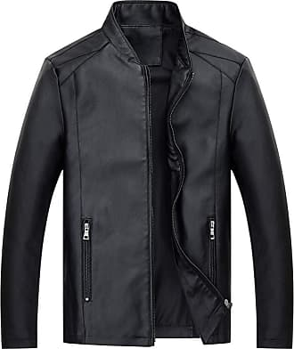 NPRADLA Mens Autumn Winter Leather Clothing Outerwear Jackets Hoodies Solid Button Rest Collar Long Sleeve Zipper Coat Black
