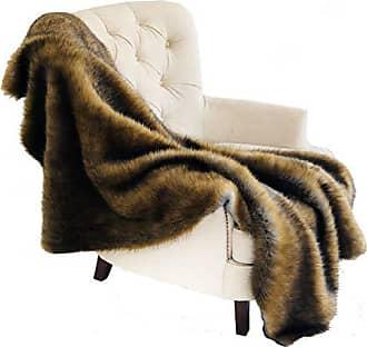 Plutus Brands Brown/Grey Wild Grizzly Bear Faux Fur 60x96L Throw, 60W x 96L