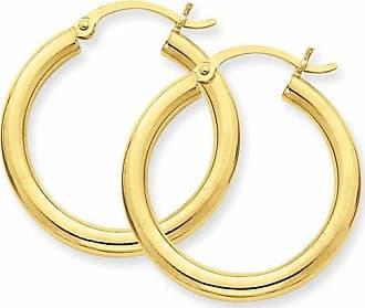 Quality Gold 14kt Yellow Gold 3mm Light Tube Hoop Earrings