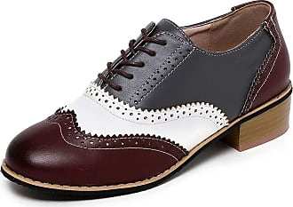 Vimisaoi Womens Perforated Wingtip Lace Up Oxfords Chunky Low Heel Flat Leather Brogues Saddle Shoes
