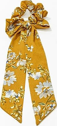 Forever 21 Forever 21 Floral Print Bow Scrunchie Mustard/multi
