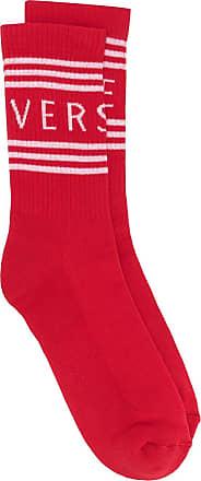 Versace Par de meias com listras e logo - Vermelho
