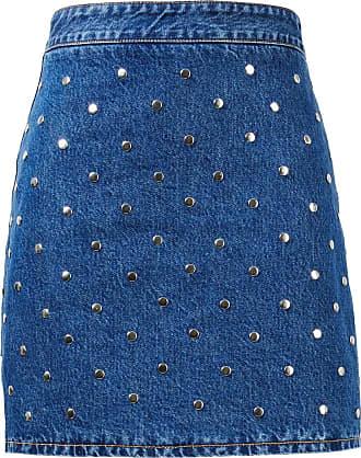 Ganni Jeansrock mit Nieten Blau