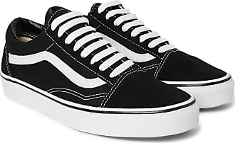 Vans Old Skool Leather-trimmed Canvas And Suede Sneakers - Black
