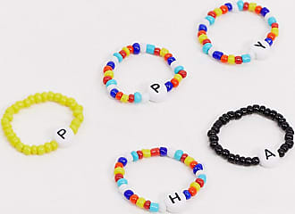 Asos Curve ASOS DESIGN Curve pack of 5 rings with HAPPY stretch bead design-Multi