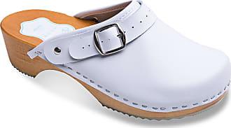 FUTURO FASHION Womens Healthy Natural Genuine Leather Wooden Sole Plain Clogs Unisex Colours Sizes 3-8 UK White