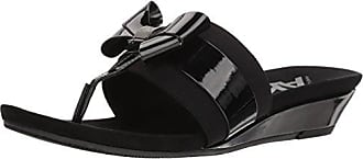Anne Klein AK Sport Womens Impeccable Sandal Slide, Black Synthetic, 6.5 M US