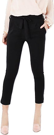 Momo & Ayat Fashions Ladies Paperbag Tie Waist Slim Cigarette Trousers UK Size 8-26 (XXXL (UK 24-26), Black)